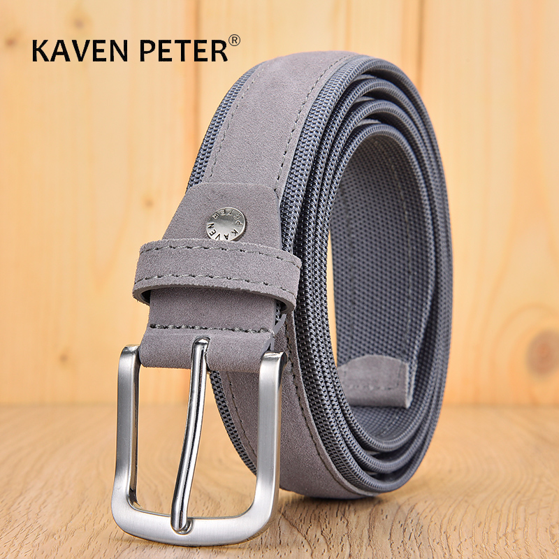Men Oxford Fabric Suede Leather Belt High Quality Genuine Leather Luxury Pin Buckle For Men 3.5 Cm And 3.8 Cm Width