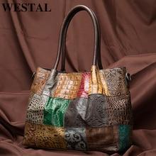 WESTAL kadın tote/çanta hakiki deri patchwork tasarım omuz çantaları kadın deri çanta tasarımcısı bayan çanta