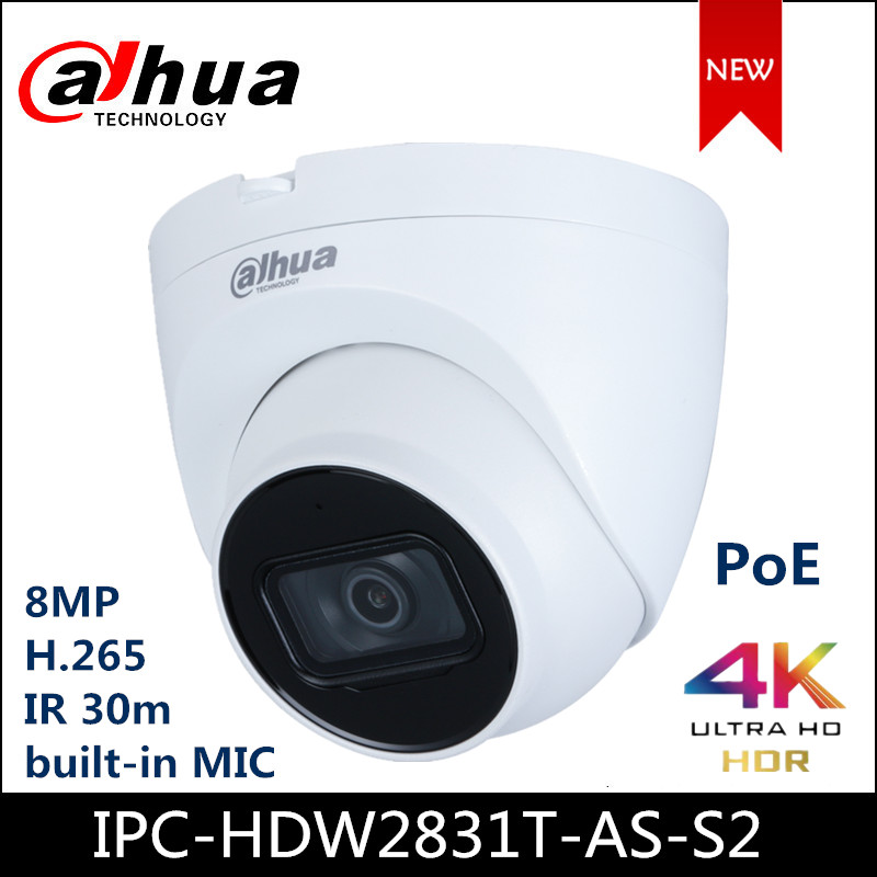 Dahua IP Camera 8MP Lite IR Fixed-focal Eyeball Network Camera POE Built-in Mic IPC-HDW2831T-AS-S2 IP67 Starlight Eyeball Camera