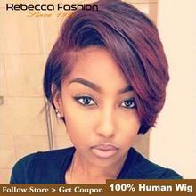 Rebecca L часть шнурка человеческих волос парики для черных женщин перуанские Remy прямые волосы Омбре парик шнурка осень новые волосы короткие парики