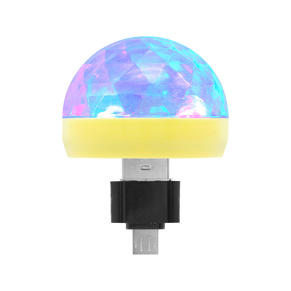 Portable Mini USB LED Crystal Magic Ball Light Sound Control Colorful Lamp Home Party Decoration Lighting Car Atmosphere Lights