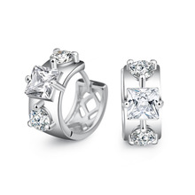 Fashion Square CZ Zircon 925 Sterling Silver Lady Stud Earrings Promotion Jewelry Women Birthday Gift No Fade