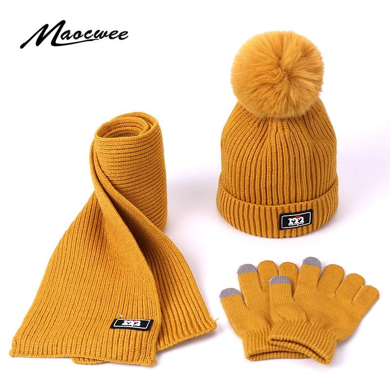 Scarf Hat Set Girls Children Cap PomPon Beanies Knitted Skullies Hats Kids Winter Warm Wool Crochet Caps Unisex Touch Screen