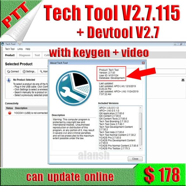 2020 פרימיום טק כלי PTT V2.7.115 באינטרנט עדכון VCADS פיתוח + Devtool בתוספת 2.7 + APCI עבור וולוו אבחון עם סדק