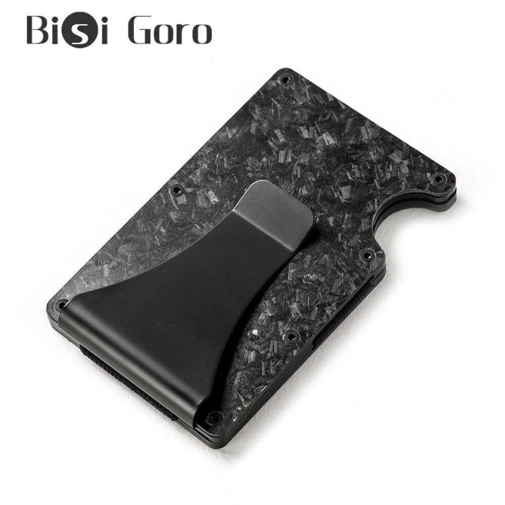 Bloqueio de Negócios Cartão de Banco Bolsa de Bolso Titular do Cartão de Crédito Bisi Goro Rfid Case Fino Minimalista Mini Carteira Alumínio Metal 2020