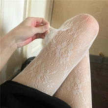 Lolita Hollowed Out Lace Mesh Stockings Bottomed Pantyhose Japanese Lolita Retro Floral Rattan White Stocking Hot Classic Tights