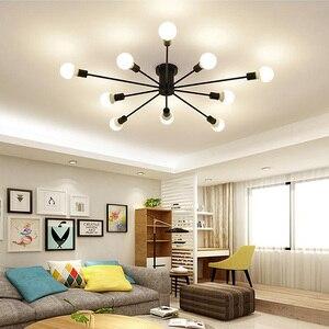 Image 1 - Retro Iron Chandelier Black/White 6/8/10 Sockets Lighting Vintage Spider Chandelier Modern Ceiling Lamp Light Fixture  Lighting