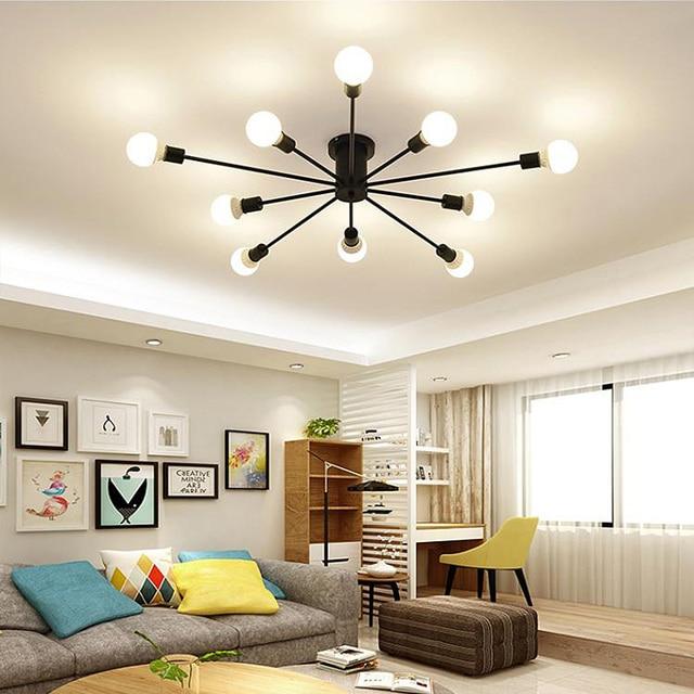 Retro demir avize siyah/beyaz 6/8/10 yuva aydınlatma Vintage örümcek avize Modern tavan lamba ışığı fikstür aydınlatma
