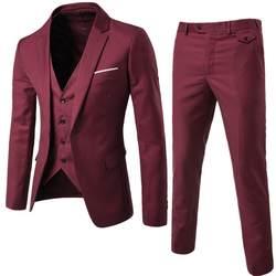 Брендовый комплект из 3 предметов; Блейзер, жилет, жилетка и брюки; социальный костюм Для мужчин модные однотонные Slim Fit Для мужчин s