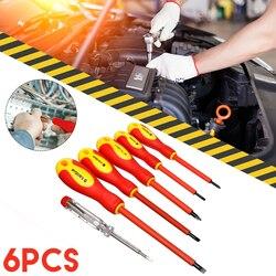 6 sztuk/zestaw praktyczne elektrycy zestaw wkrętaków VDA zestaw izolowanych elektrycznie narzędzia ręczne Top Quality w Śrubokręty od Narzędzia na