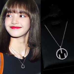 kpop BLACKPINK LISA korean new temperament Silver color charm chain Necklaces Women Simple Jewelry Round Necklaces Pendants Gift