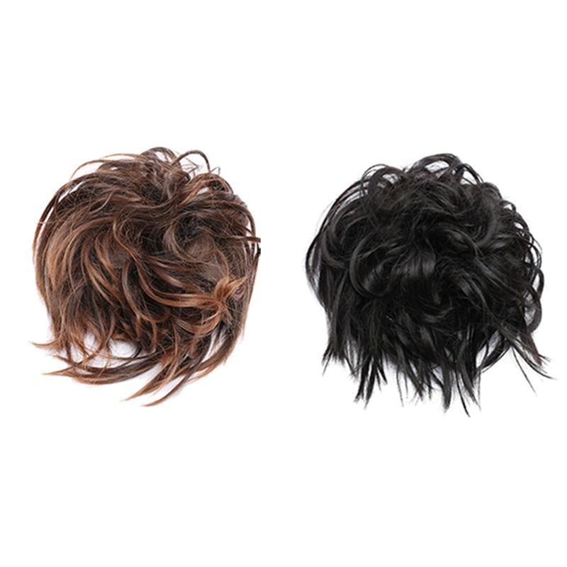 2Pcs Women Messy Scrunchie Chignon Hair Bun Straight Elastic Band Updo Hairpiece Synthetic Hair Chignon Hair Extension - J1B Dar