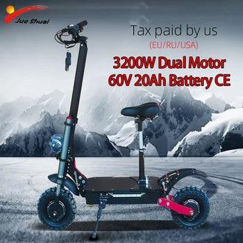 Patinete eléctrico para adulto de 60V, 3200w, con batería de 20Ah, 11 pulgadas, neumático todoterreno, aeropatín eléctrico potente, Scooter