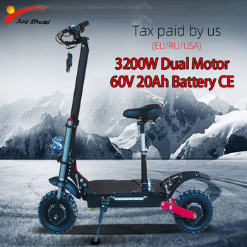Patinete eléctrico para adultos, Scooter Eléctrico de 60V y W con batería de 20Ah, de 11 pulgadas neumático todoterreno, Motor Dual, aerodeslizador potente, patín eléctrico
