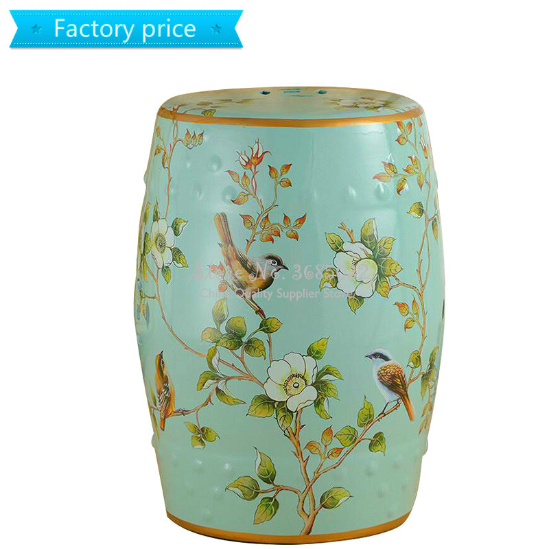 European Drum Ceramic Pouf For Bedroom Makeup Stool Ottomans Chinese Painted Shoe Bench Chinese Zither Performance Stools30*46cm