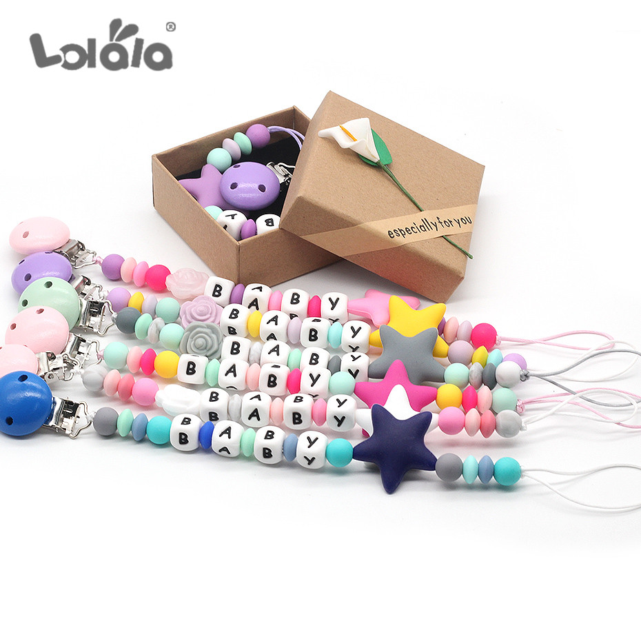 Customize Name Baby Pacifier Clips Stars Pacifier Holder Chain Silicone Beads Baby Teething Chain Nursery Toy Shower Gifts