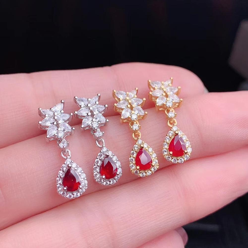 Superbe élégant rouge naturel rubis gemme boucles d'oreilles femmes argent bijoux fins naturel gemme goutte d'eau couleur dorée cadeau de fête