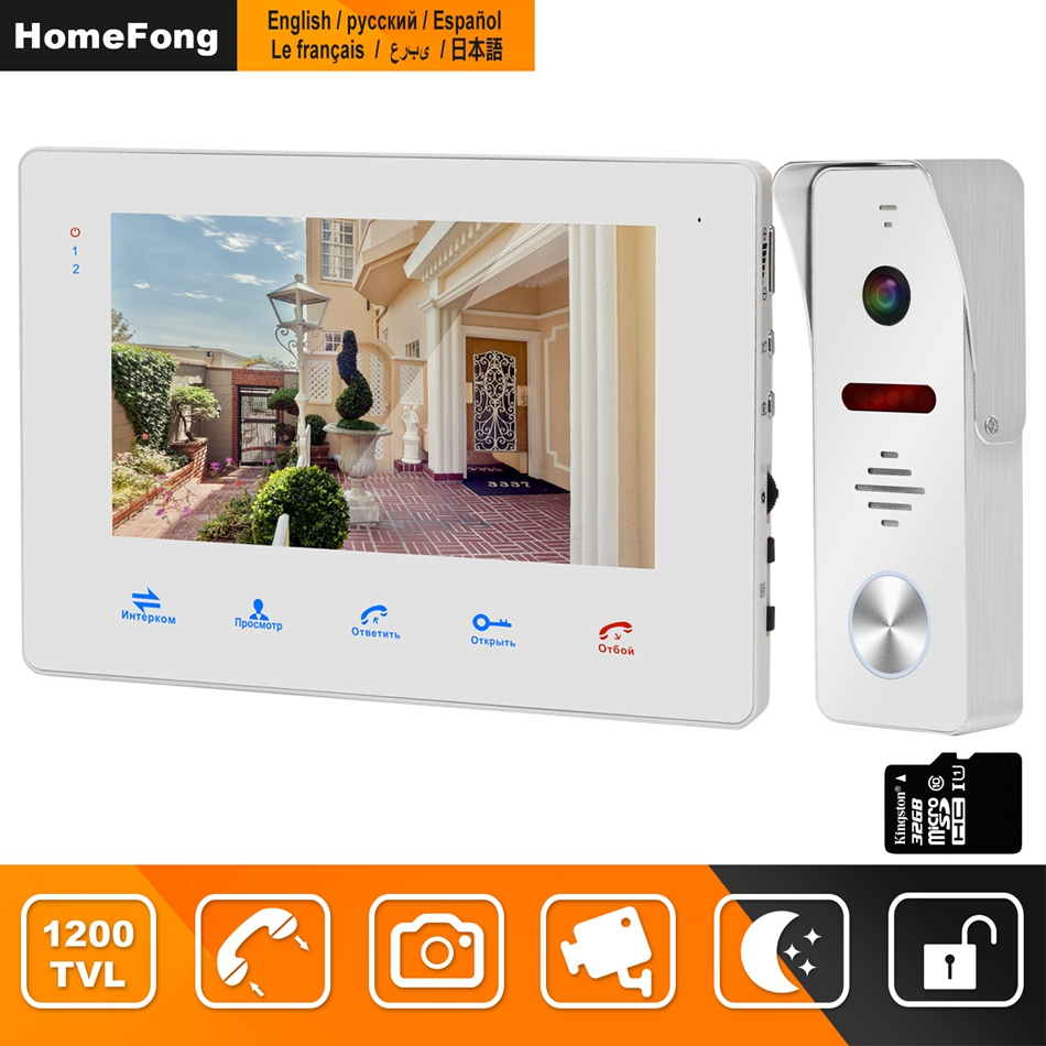 HomeFong Wired Video Door Phone For Home Intercom 130 Degree 1200TVL Doorbell Camera Support  Motion Detect Record Electric Lock