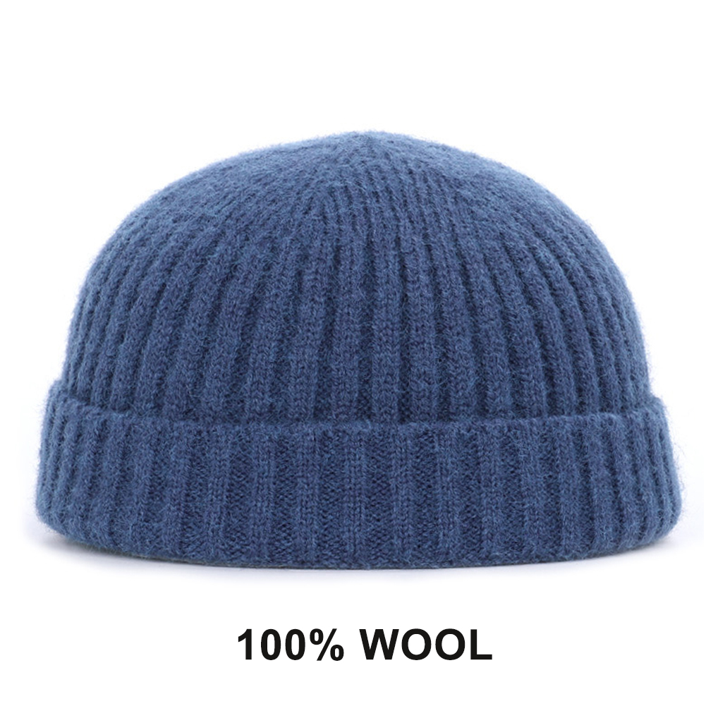 Зимняя шерстяная вязаная шапка унисекс, шапка, повседневные облегающие шапки для мужчин и женщин, хлопковая Осенняя шапка, модная однотонна...