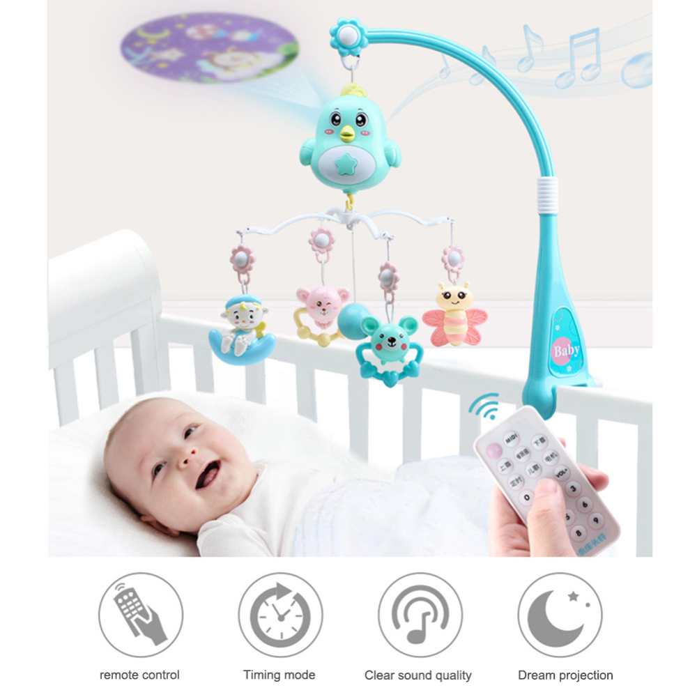 New Baby Cradle Rotating Bracket Toys Baby Rattles Mobile Wooden Beads Wind Chimes Toys For Children Room Hanging Bed Decoration
