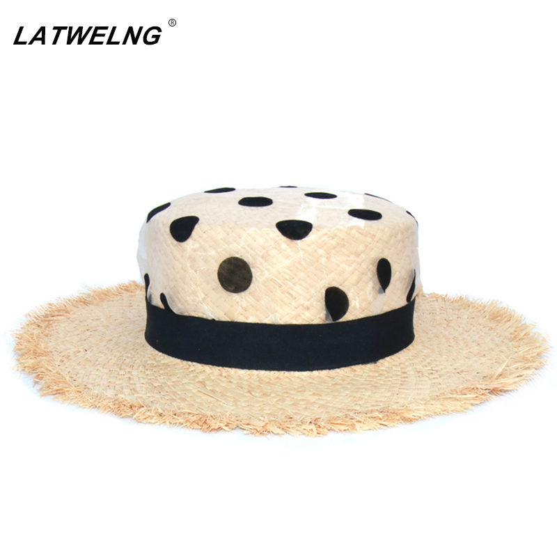 2020 Brand Design Organza Dot Polka Print UV Sun Protection Hats For Women Wedding Caps Ladies Raffia Summer Beach Hat Vacation