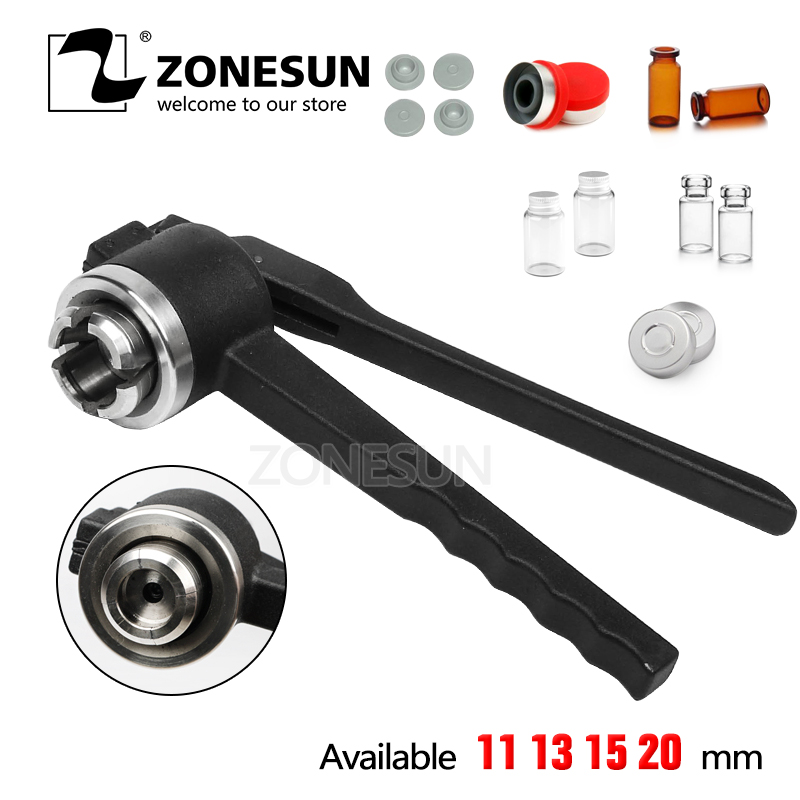 ZONESUN 15mm Stainless Steel Decapper Tool, Manual Crimper / Capper / Vial WITH EMPTY UNSTERILE VIALS LIDS AND RUBBERS