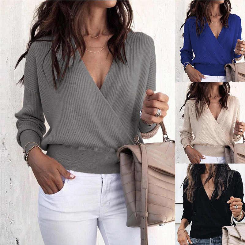 Casual de malha manga comprida profundo decote em v retalhos escritório blusa feminina design plus size w30015