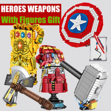 Super Iron Heroes Weapon Shield Infinity Thanos Man Gauntlet Glove Quinjet Fit Captain Technic Model Building Block Brick Toy