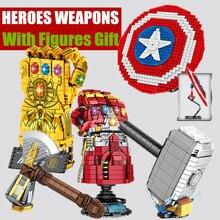 슈퍼 철 영웅 무기 방패 무한대 Thanos 남자 건틀릿 장갑 Quinjet 맞는 캡틴 기술 모델 빌딩 블록 벽돌 장난감