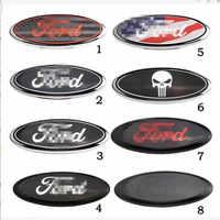 Etiqueta engomada de la cubierta de la fibra de carbono del decorador de la cabeza del logotipo del emblema del cromo de la rejilla del emblema delantero/trasero del coche para Ford 2006-2018