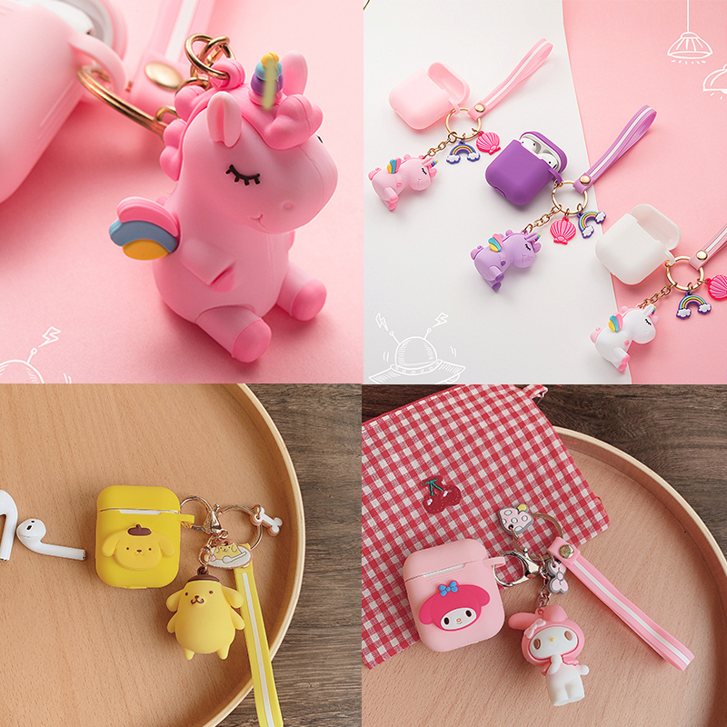 For AirPods Case Cartoon Cute Keychain Accessories Silicone Cases For Airpods 2 Case With Key Ring Bluetooth Earphone Cover Capa