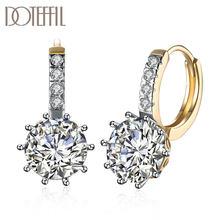 Doteffil 925 スターリングシルバー 18 18kゴールドダイヤモンドaaaジルコンのイヤリングジュエリーファッションウェディング婚約パーティーギフト