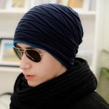 цена на New Hat Autumn and Winter Men Wool Hats Fashion Plus Velvet Warm Knit Hat Unisex Outdoor Ski Cap Skull Bonnet Hats for Men
