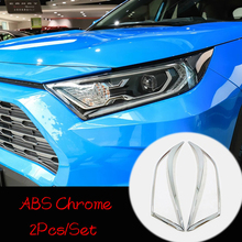 For Toyota RAV4 2019 ABS Chrome Car Front Light Head Lamp Headlamps Frame Sticker Cover Trim Car Styling accessories 2pcs citall 2pcs abs black headlight head lamp light brow deco cover trim sticker car styling fit for toyota camry se xse 2018 2019