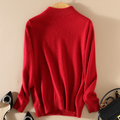 Women Cashmere 2021 New Autumn Winter Vintage Half Turtleneck Sweaters Plus Size Loose Wool Knitted Pullovers Female Knitwear11 7