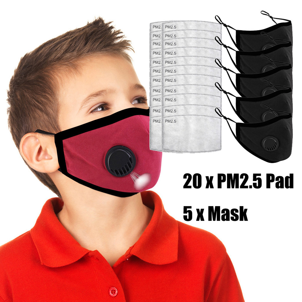 5 PCS Kids Anti Pollution PM2.5 Cartoon Mouth Face Mask Breath Valves Filter Papers Kid Anti-Dust Mask Activated Carbon Filter
