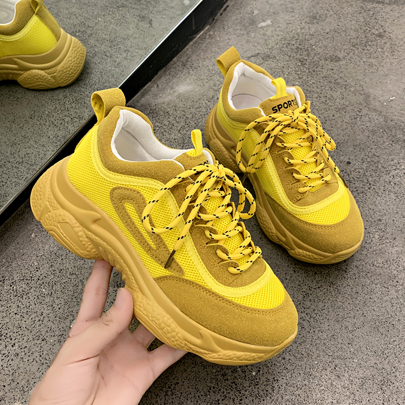 Chunky Sneakers Women Platform Yellow Green Thick Sole Ladies Basket Female Sport Shoes Women 2019 New Casual Fashion Sneakers