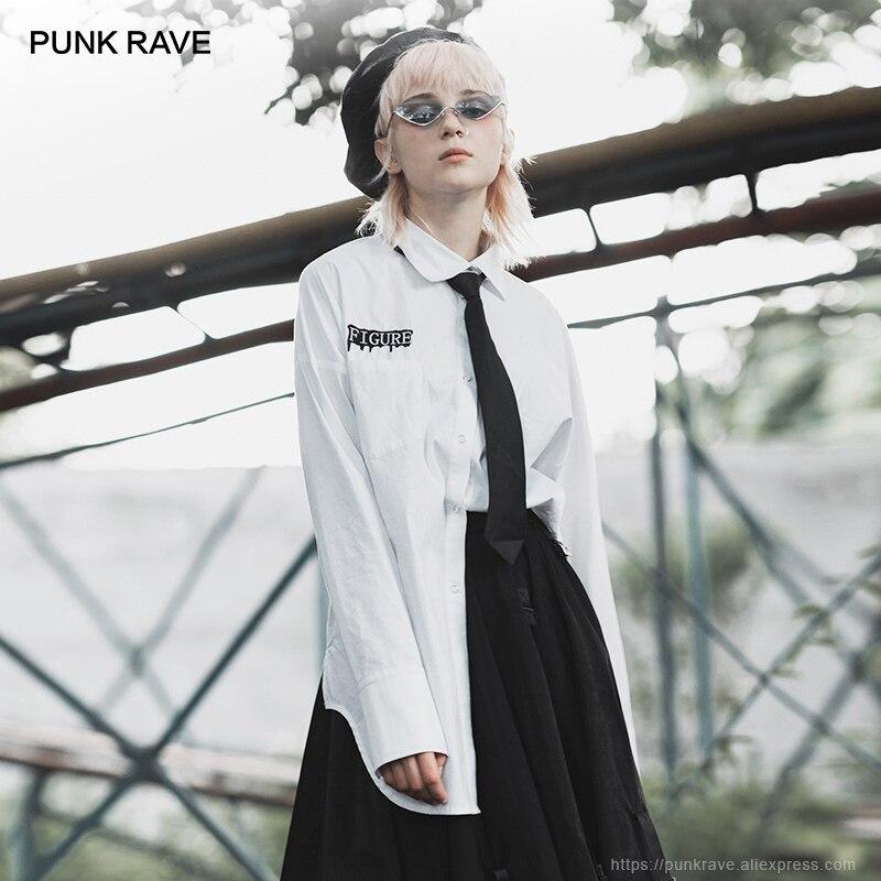 PUNK RAVE fille brodé irrégulière ourlet longues chemises parti Club gothique décontracté femmes Blouses blanc Blouse