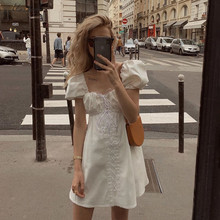 Macheda Summer Casual White Dress Women Fashion Lace up Hollow Out Mini Dress Lady Puff Sleeve Square Collar Dress Vestidos New