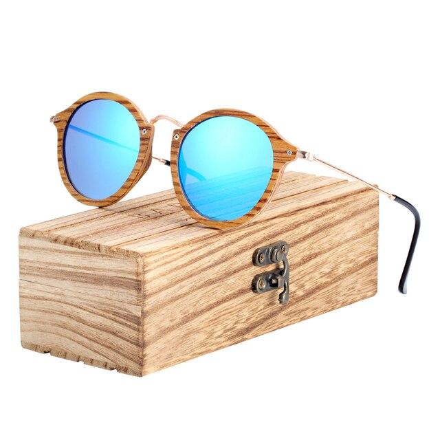 BARCUR زيبرا نظارة شمسية خشبية اليدوية نظارات شمسية مستديرة الرجال الاستقطاب النظارات مع صندوق الحرة