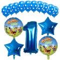 15 шт. в фермерском стиле воздушные шары синий и красный цвета шара с цифрой 1st День рождения декоративный шар игрушки для детей фермы нарядно...