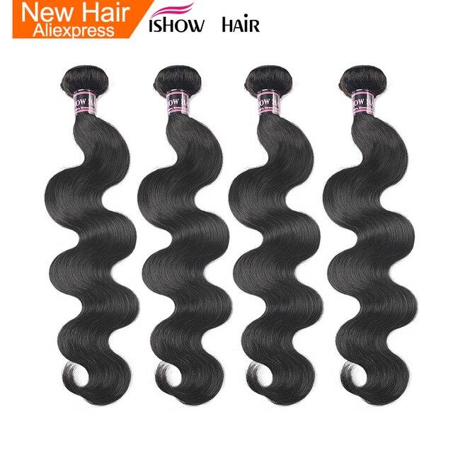 Ishow 인도 바디 웨이브 인간의 머리카락 4 번들 헤어 제직 400g 자연 색상 8 28 인치 비 레미 100% 인간의 머리카락 확장