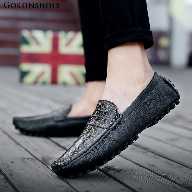 Genuine Leather Men Shoes Luxury Casual Mens Loafers Moccasins Homme Slip On Zapatos Black Size 39-50