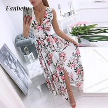Women Elegant Floral Print Chiffon Long Party Dress Sexy Deep V-neck Split Dresses Office Lady Fashion Sleeveless Beach Vestidos