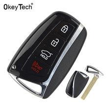 Чехол для автомобильного ключа OkeyTech с 4 кнопками для Hyundai Genesis 2013-2015 Santa Fe Equus Azera, запасная часть для пульта дистанционного управления, чехол д...