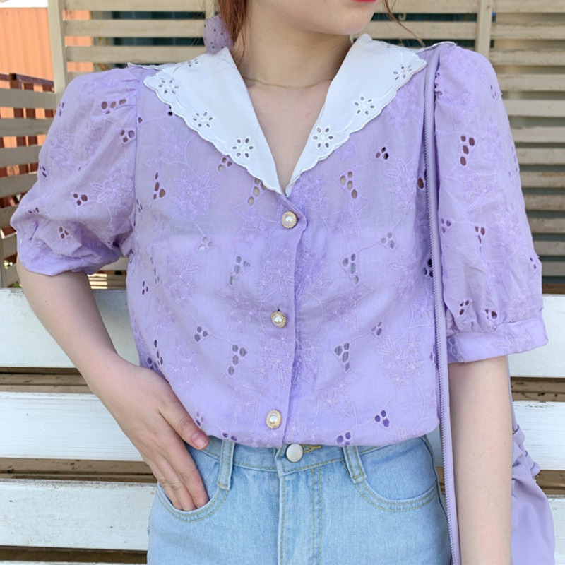 Korean Pink Hollow Out Woman's Shirt Peter Pan Collar Puff Sleeve Oversize Casual Blouse Female Fashion New Clothes 2020