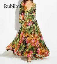 Rubilove 2019 Fashion women summer maxi beach dress green v neck long bohemian lantern sleeve boho female party dres