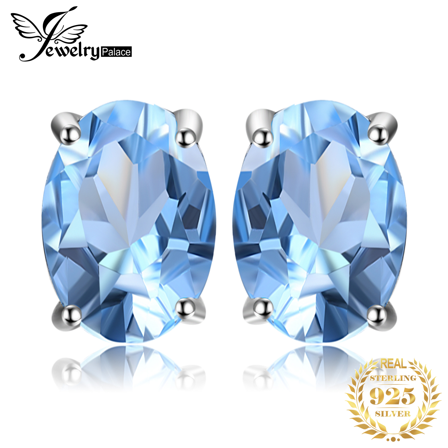 JewelryPalace 1.9ct Genuine Blue Topaz Stud Earrings 925 Sterling Silver Earrings For Women Korean Earings Fashion Jewelry 2020