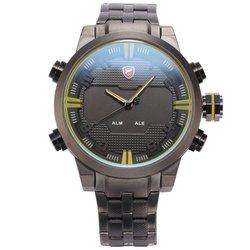 watches for men Sawback Angel SHARK Sport Watch Mens Digital LED Backlight Stainless Steel Band Date Quartz Wristwatch pocket