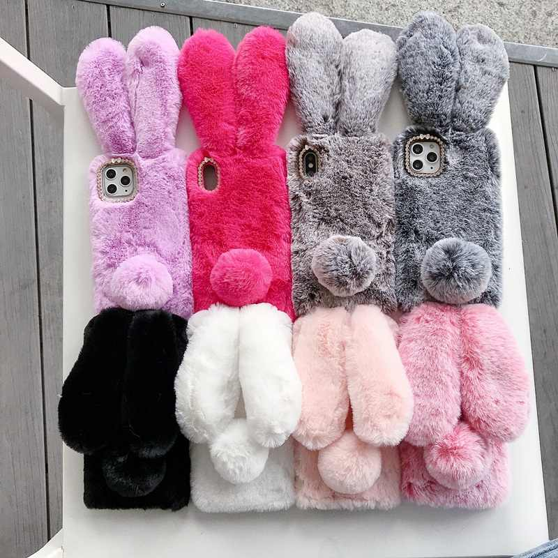 Custodia in pelliccia calda pelosa 3D coniglio carino per Huawei P ...